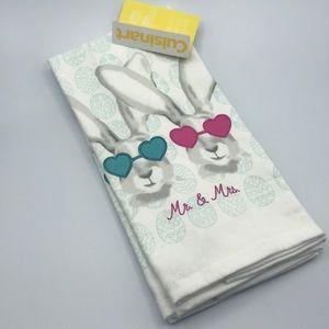 Cuisinart 2 Pack Kitchen Towels Mr & Mrs Bunny Set